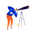 a man with telescope astronomer examines