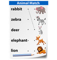an animal matching template vector image vector image