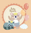 bashower cute bear with short pants raccoon vector image