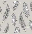 black and white seamless pattern with feathers vector image