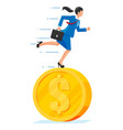 businesswoman is running on dollar coin vector image