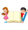 Cartoon kids with book and pencil vector image