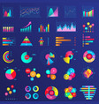 charts graphs diagram infographics flat neon vector image