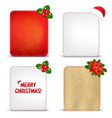 Christmas Banners Set With Holly Berry vector image