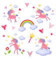collection of with a pink unicorn vector image vector image