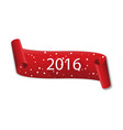 curved red banner happy new year 2016 with snow vector image vector image