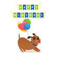 cute dog and balloons birthday card vector image vector image