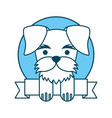 cute dog mascot with ribbon vector image vector image