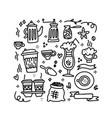 cute doodle coffee shop icons set outline vector image