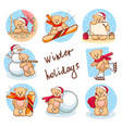 cute greeting cards set with teddy vector image