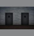 dark brick wall and prison interior vector image
