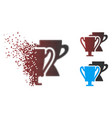 decomposed pixel halftone trophy cups icon vector image
