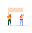 dissatisfied man and woman activist with placard vector image vector image