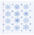 doodle snowflakes on a sheet of exercise book vector image