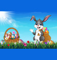 easter bunny carrying sack full of easter eggs in vector image vector image