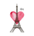 eiffel tower and heart paris vector image vector image
