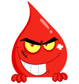 Evil Blood Guy Grinning Over A Blank Sign vector image vector image