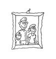 family photo on frame outlined cartoon hand drawn vector image vector image