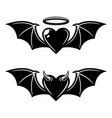 heart with wings angelic and demonic styles vector image vector image