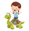 kids with turtle vector image vector image