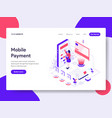 landing page template of mobile payment concept vector image vector image