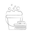 laundry bucket with brush vector image