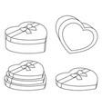 line art black and white heart box set vector image