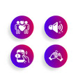 love couple loud sound and call center icons set vector image vector image