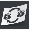 Monochrome dollar ruble exchange sticker vector image vector image