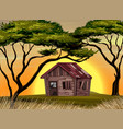 old cottage in the field at sunset vector image vector image