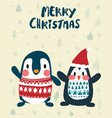 penguins in winter merry christmas card vector image vector image