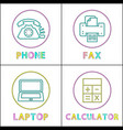 phone and fax machine icons vector image vector image