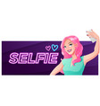 pretty woman making selfie banner vector image vector image