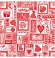 Red seamless Christmas and New Year pattern vector image vector image