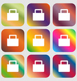 sale bag icon Nine buttons with bright gradients vector image