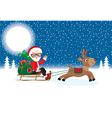 Santa Claus with Christmas gifts on sledge vector image vector image