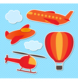 set cute colorful aircraft stickers vector image