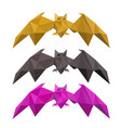 set low poly bat flying vector image vector image