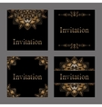 Set of Invitation cards with golden foil vector image vector image