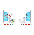 smartphone cartoon shopping with a shopping cart vector image