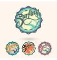 summer surfing retro vintage logo emblem vector image