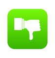 thumb down gesture icon digital green vector image vector image