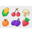 vegetables and fruits set corncob cherry vector image