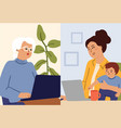video call family calling computer online vector image vector image