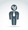 White collar team worker man icon with gears