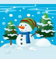 winter scene with snowman in the field vector image vector image