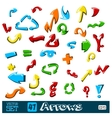 set of multicolored universal arrows on a vector image