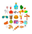 asian holidays icons set cartoon style vector image vector image