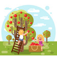 autumn happy children boy girl harvest apples crop vector image