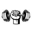 black and white of a hand with dumbbell vector image
